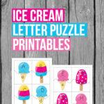 Ice Cream Letter Puzzle Printables