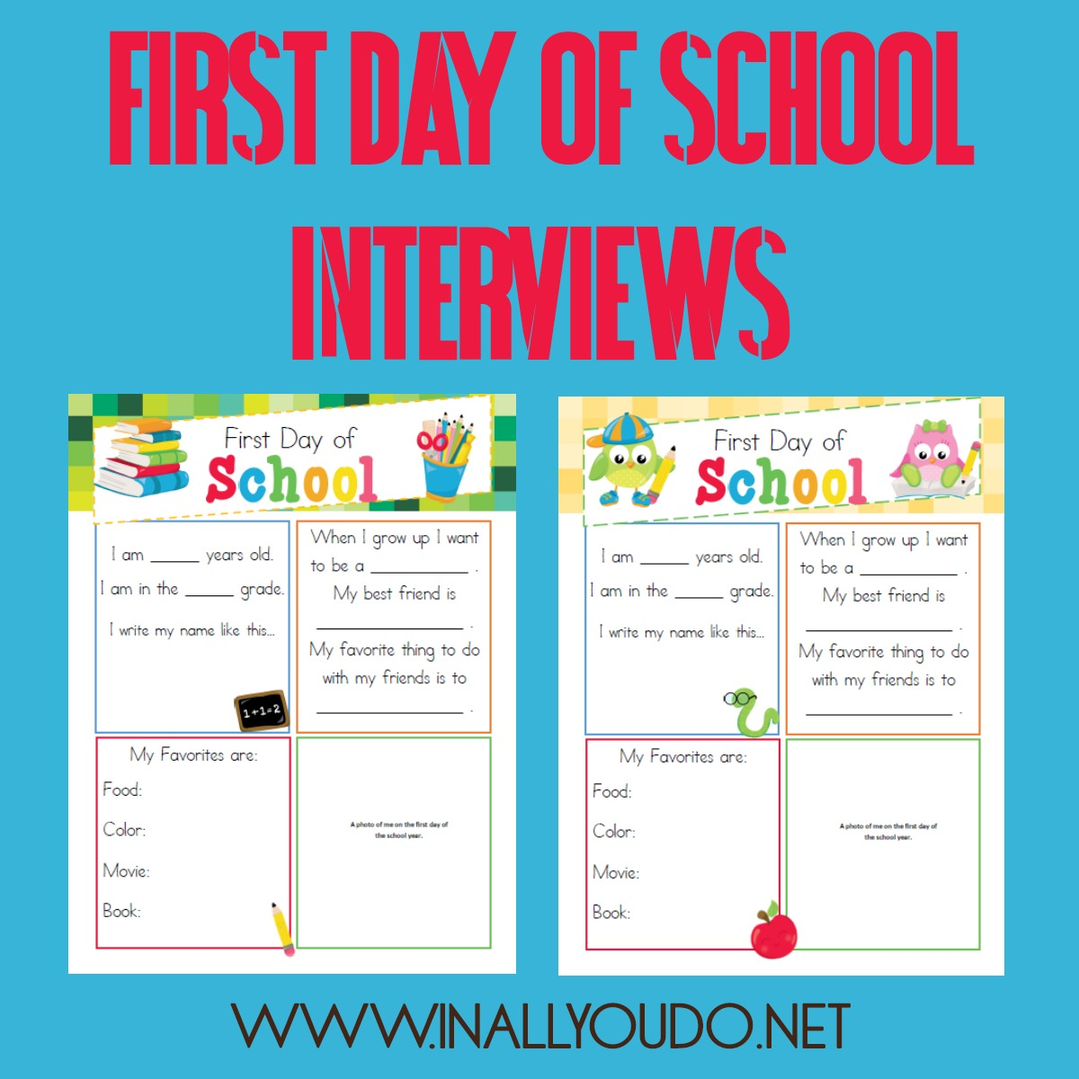I can not believe that it is almost time for us to go back into school mode! I am not sure if I am ready to face this or not. What I do know is that one of our favorite things to do is to have a mini interview. I think it is always such a great thing for them to look back on at the end of the school year and even several years down the road. Here is a really cute one that I am sure you are going to love.