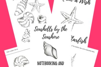 Seashells by the Seashore Writing and Coloring Pages