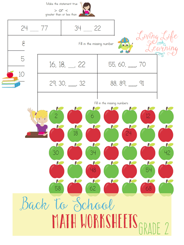 Your 2nd grader will love these back to school themed review worksheets. Inside this pack, your children will review skip counting, comparing numbers and more.