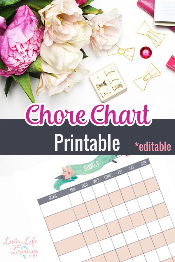 In our home chores are a must! We like them because it helps each child claim ownership of their home and it helps teach responsibility. However, it can sometimes get confusing to both us as parents and the child to know who is doing what. This chore chart will help make chore time a lot easier!