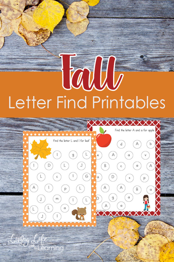 Fall is here and I don't know about you but the children and I are excited! So why not add that autumn excitement into your homeschool! WIth this fall themed letter find printable your child will be about to practice letter recognition and hand-eyecoordination!