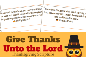 Kid's Thanksgiving Scripture Copywork Pages