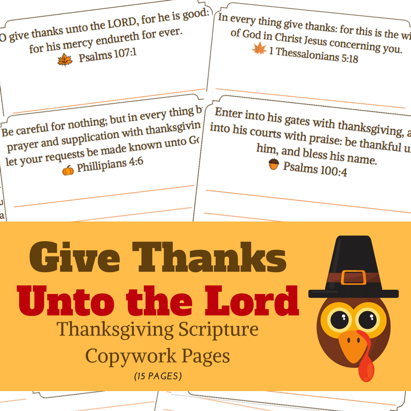 Kid's Thanksgiving Scripture Copywork Pages