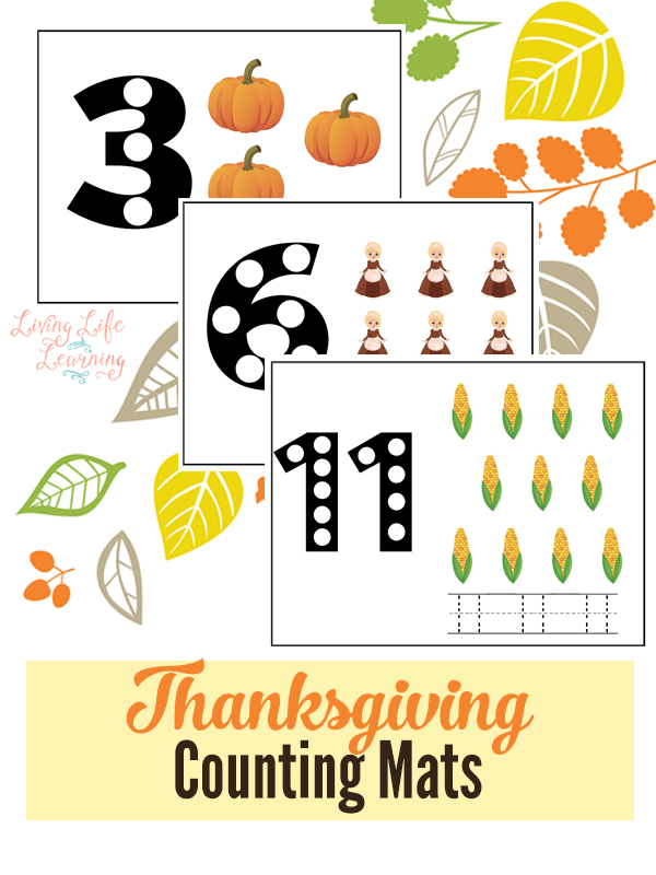Here are some great counting mats that you can use all this Thanksgiving season. Pack them up and take them with you, use them while you are traveling or whatever. The possibilities are endless.