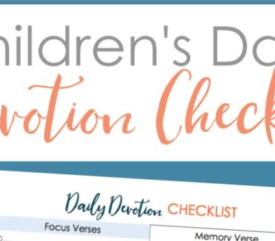Children's Daily Devotion Check List